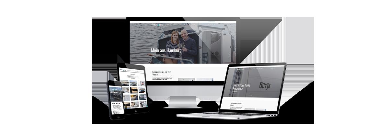 Mockup Webseiten ansicht HamburgBoats KLUCKMEDIA Werbeagentur